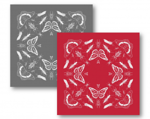 Mockups of two bandanas featuring line drawings of insects and spiders. One is charcoal grey with white insects and the other is bright red with white insects.