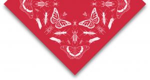 Folded bandana showing design including symbols representing all provincial and national entomological societies